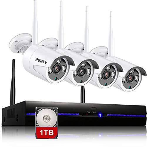 H.265 Kit de videovigilancia wifi al aire libre con HDD de 1 TB, 1080P NVR+4x960P IP66 Cámara CCTV impermeable, cámara de vigilancia inalámbrica, visión nocturna, sensor de movimiento blanco-REIGY