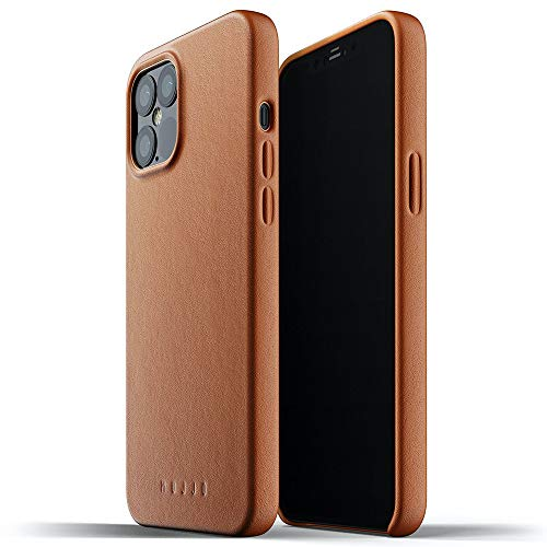 Mujjo Full Leather Case for iPhone 12 Pro Max | Premium Genuine Leather, Natural Aging Effect | Super Slim Fit Design, Wireless Charging (Tan)