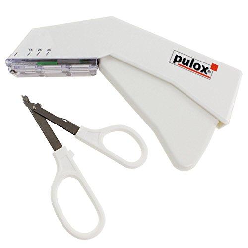 Pulox Einweg Hautklammergerät Steril + Entferner (Set) Einweginstrument mit 35 Klammern Hautklammer und Klammerentferner