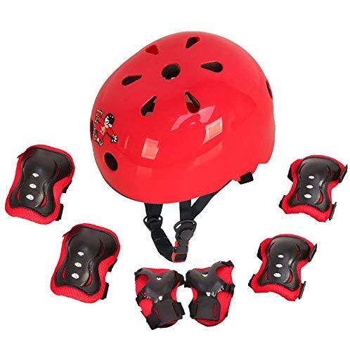 Protezione di Casco Bambini Set Casco Bici Protezioni Set per Bambini Regolabile Gomitiere Polso Ginocchiere per Skateboard Pattini in Linea Bicicletta per Pattini a Rotella(rosso, M(6-14 anni))