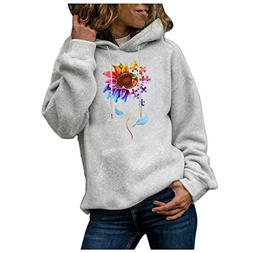 Cloodut Damen Herbst Winter Sweatjacke Hoodie Sweatshirtjacke Bedruckt Pullover Oberteile Kapuzenpullover Outdoor Casual Sweatshirt Tops für Frauen und Mädchen(Grau,S)