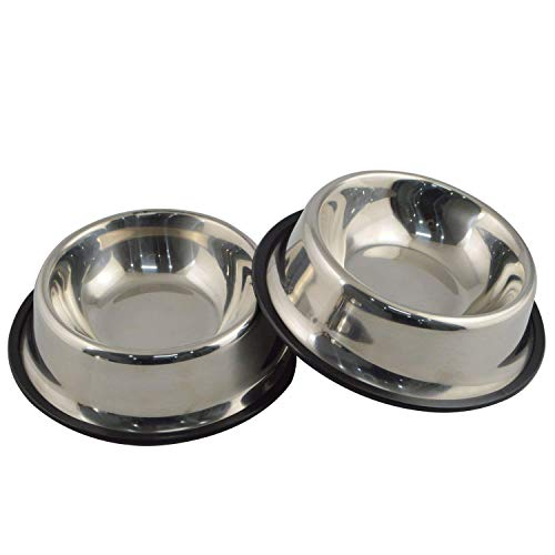Mlife Stainless Steel Dog Bowl with Rubber Base for Small/Medium/Large Dogs, Pets Feeder Bowl and Water Bowl Perfect Choice (Set of 2)