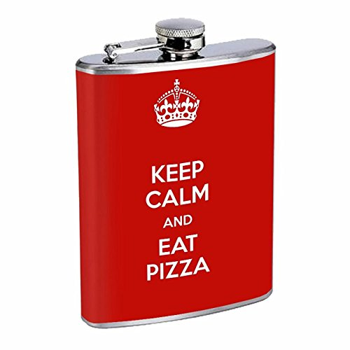 Keep Calm And Eat Pizza Hip Flask Stainless Steel 8 Oz Silver Drinking Whiskey Spirits E1