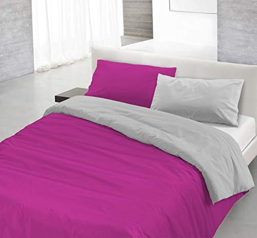 Italian Bed Linen Natural Color Parure Copri Piumino, 100% Cotone, Fuxia/Grigio, Singolo, 2 unità