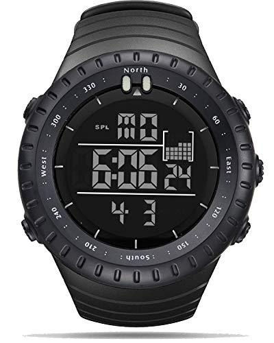 Herren Uhren Digital Sport Armbanduhr Schwarz Stoppuhr Kalender Wasserdicht Leuchtend Uhr-Schwarz