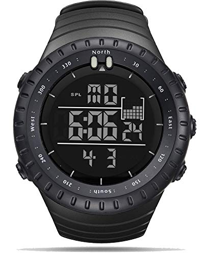 Orologi da uomo Orologio sportivo digitale Orologio da polso nero Cronometro Orologio luminoso impermeabile