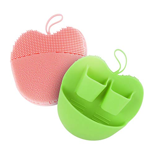 INNERNEED Manual Silicone Facial Cleansing Brush Face Scrubber Pads for Deep Cleansing, Gentle Exfoliating, Makeup Removal Brush, Anti-Aging Face Massage, Handheld (Pink + Green)