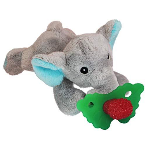 RaZbaby RaZbuddy RaZberry Teether/Pacifier Holder w/Removable Baby Teether Toy  0M  Bpa Free  Elephant
