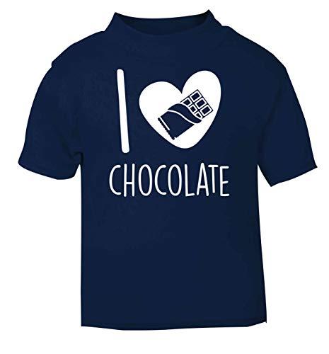 Flox Creative T-Shirt pour bébé Inscription I Love Chocolate - Bleu - 2 Ans