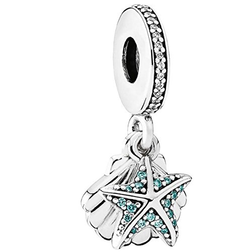 Pandora Jewelry - Starfish and Sea Shell Dangle Charm in Sterling Silver with Green Cubic Zirconia