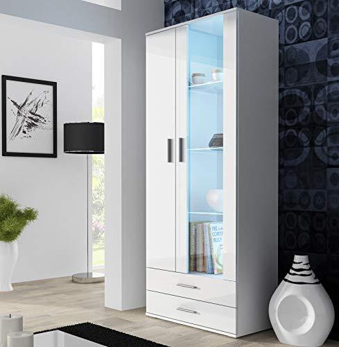 SOH O 2 puertas modernas frontales de cristal brillante LED estantes de exhibición cajones (blanco)