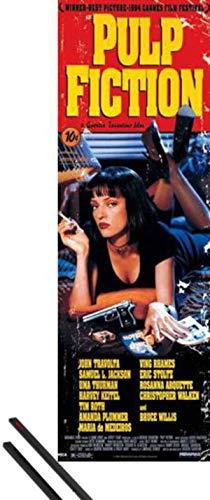 1art1 Pulp Fiction Tür-Poster (158x53 cm) Filmplakat, Quentin Tarantino Inklusive EIN Paar Posterleisten, Schwarz
