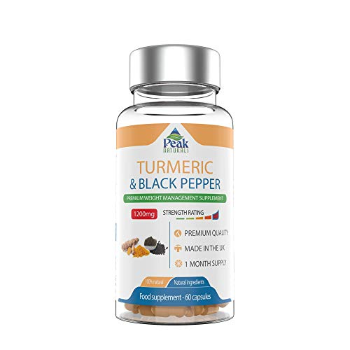 # 1 Highest Strength Organic Turmeric and Black Pepper 1200mg Daily Strength Boost Immune System Added Anti-inflammatory to Help Reduce Pain Antitoxidant Benefits Made in The UK