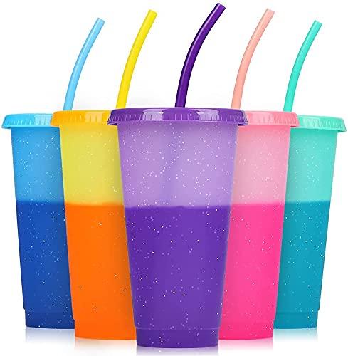 Vaso con pajita y tapa – Pack de 5 vasos que cambian de color – 680 ml | sin BPA – Vasos de plástico reutilizables para café helado o bebidas frías