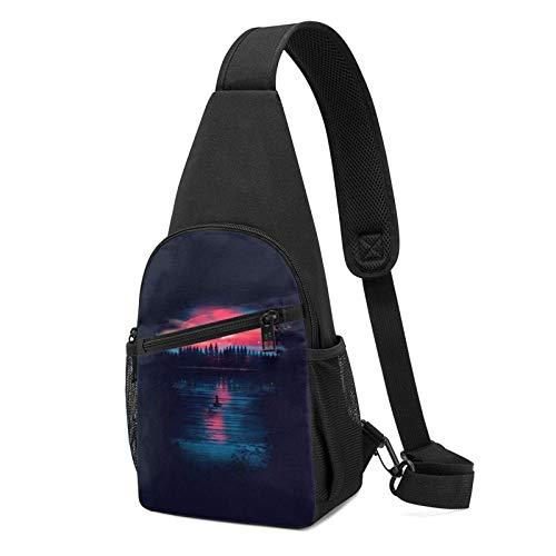 XCNGG Mochila de Senderismo Bolsa de Pecho Space Lake Reflection Trees Printed Sling Backpack,Lightweight Shoulder Chest Backpack Travel Hiking Bag Crossbody Shoulder Bag