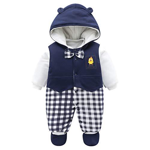 JiAmy Baby Winter Overalls mit Füßlinge Fleece Schneeanzüge Mit Kapuze Warm Outfits Blau 3-6 Monate