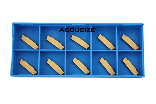 Accusize Industrial Tools Mgmn200 Tin Coated Carbide Inserts, 10 Pcs/Box, 2403-4022x10