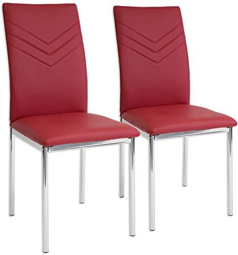 Albatros Verona Lot de 2 chaises, Rouge, Pieds Chrome, SGS Tested