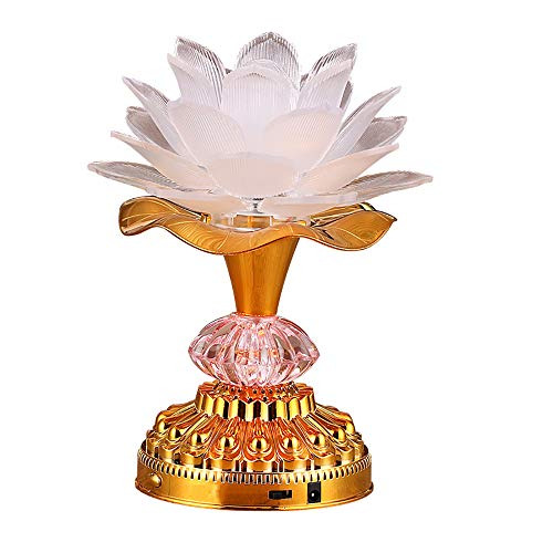Omeet 7 Colorful LED Lotus Buddhist Lamp, Buddha Lotus Light, Buddhist Supplies - White
