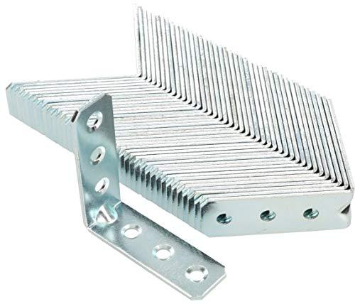 KOTARBAU® Winkelverbinder 60 x 60 x 20 mm Sicke Stahl Bauwinkel Montagelöcher Möbelwinkel Verzinkt Schwerlast Holzverbinder Montagewinkel Stuhlwinkel (50)
