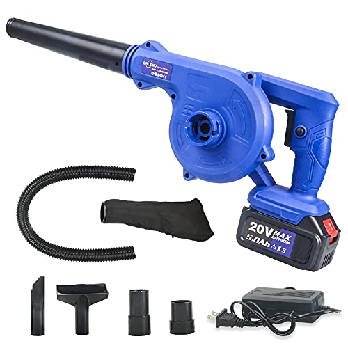 Cordless Leaf Blower, 2-in-1 Compact 20V 5.0Ah Battery Powered Electric Leaf Blowers & Vacuums with Battery and Charger for Lawn Care Leaf Blowing, Car/Corner Dust Clearing