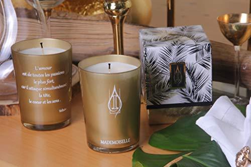 Driada Mademosselle Poemas Voltaire Oro Blanco,Vela Perfumada/Aromática, Vaso de Vidrio, para Regalo, Decoración y Hogar