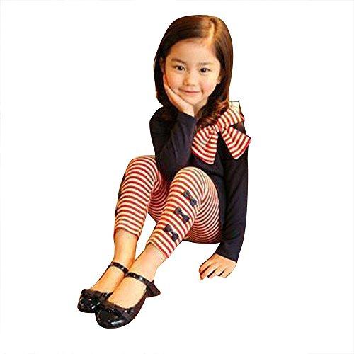 Bekleidung Longra Bekleidung Longra 2Pcs Kinder Baby Mädchen Kleidung Langarm Bowknot Kleid T-Shirt + Streifen Hosen Set Kinder Bekleidungset?2-8Jahre (140CM 7-8Jahre, Navy)