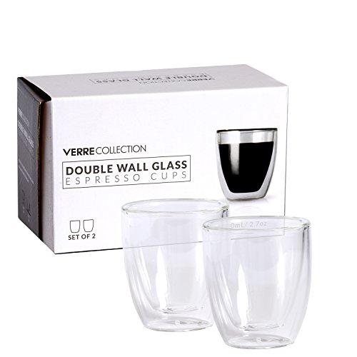 Verres à Café Isothermes Double Parois de 80 ml, Lot de 2 Tasses Isolantes en Verre | Verre Collection