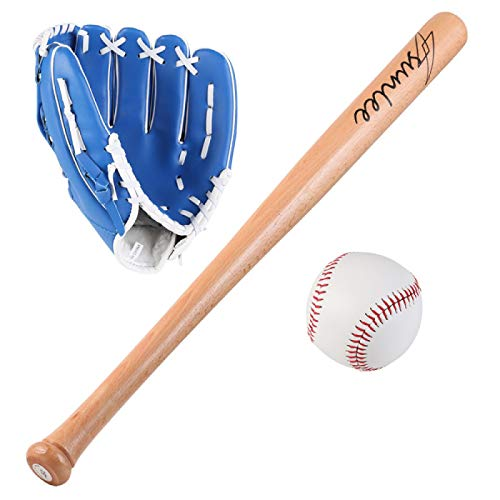 FHCSAO Kinder Jungen Mädchen Baseball Starter Set,Pitcher Softball Glove,Outdoor Sporthandschuh,Batting Handschuhe,Blue-10.5inches