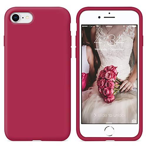 SURPHY iPhone SE 2020 Hülle Silikon, iPhone SE 2020 Handyhülle, iPhone 8 Hülle Silikon, iPhone 7 Hülle Silikon, Silikon Handyhülle für iPhone SE 2 2020 4,7 Zoll Protective Schutzschale, Rose Rot
