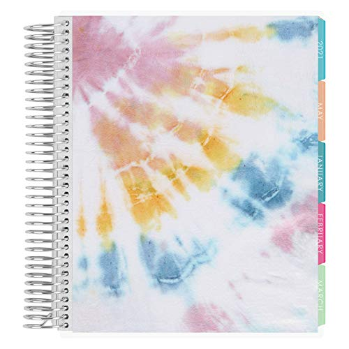 Erin Condren 12 - Month 2021 Coiled Life Planner 7x9 (January - December 2021) - Sunlight Tie-Dye, Vertical (Layers Colorful Layout). Organizer with Monthly Calendar Tabs
