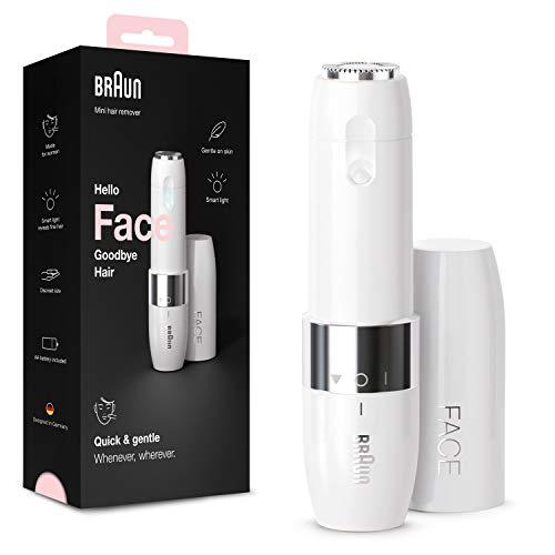 Braun Face FS1000 Mini-gezichtsscheerapparaat voor dames, voor bovenste lippen, kin en wangen, gemakkelijk te dragen, met licht, wit