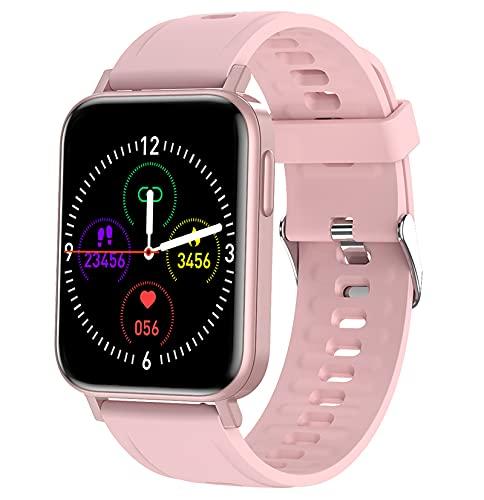 QFSLR Smartwatch,Reloj Inteligente, con Monitoreo De Temperatura De Reloj Inteligente Monitor De Frecuencia Cardíaca Monitor De Presión Arterial Monitoreo De Oxígeno En Sangre,Rosado