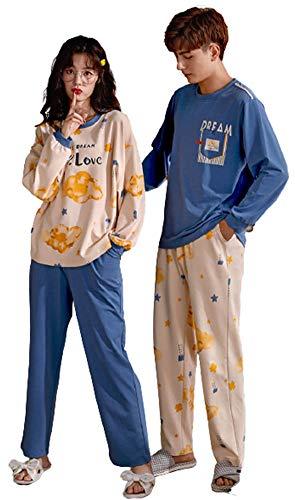 ペアルック パジャマ ルームウェア おそろいパジャマ カップル 綿 パジャマ メンズ 部屋着 おそろい カップル カップル tシャツ 寝巻き レディース 部屋着 ペア ペアルック 夏 ルームウェア レディース ワンピース mkm1949-B-3XL