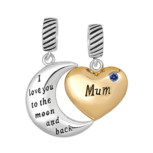 UNIQUEEN Silver Birthstone Heart Mum I Love You to The Moon and Back Charm Fit Bracelet Charms
