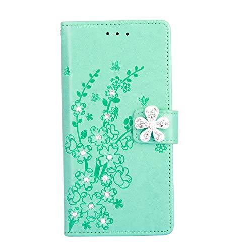 Qjuegad Kompatibel mit Samsung Galaxy S5 Hülle Leder Handyhülle Pflaumenblütenprägung Muster Ledertasche Flip Wallet Strasssteine Brieftasche Etui Schutzhülle Handytasche mit Kartenfächern,Grün