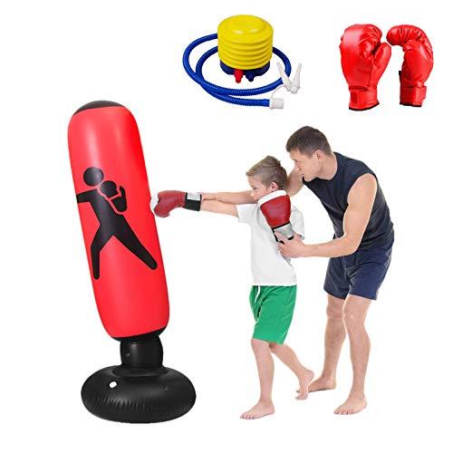 LUOWAN Boxsack Kinder Erwachsene, 3-Teiliges Set Mit 160-Cm-Boxsandsäcken Für Kinder, Boxhandschuhen, Luftpumpen, ÜBungs- Und Entlüftungsproblemen Und Verbesserung Der Körperlichen Koordination rot