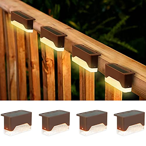 shumi Solar Deck Lights Outdoor, 4 Pack Solar Step Lights Outdoor Waterproof LED, Solar Fence Post Lights Warm White for Railing, Deck, Patio, Yard, Post and Driveway