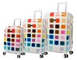 Steve Madden Cubic Luggage Sets 3 Piece Hardside Suitcase With Spinner Wheels
