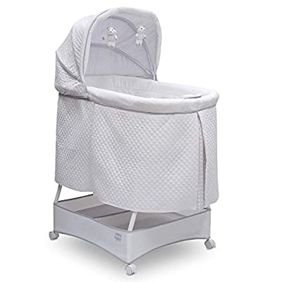 Simmons Kids Deluxe Hands-Free Auto-Glide Bedside Bassinet - Portable Crib Features Silent, Smooth Gliding Motion That Soothes Baby, Inner Circle