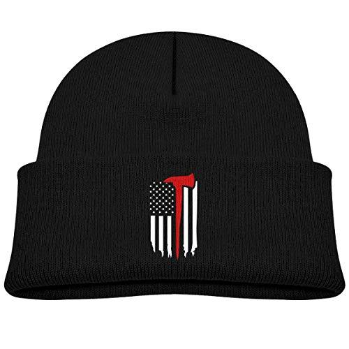 VTXINS Fashion grappige dunne rode lijn vlag Axe Kid gebreide bonen hoed jongens meisjes Winter hoed gebreide schedel pet zwart