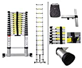 Todeco - Telescopic ladder, Foldable Ladder - Maximum load: 330 lbs - Number of steps: 13 - 12.5 feet, EN 131-6, Extra gap, FREE Carry bag, Stabilizing bar