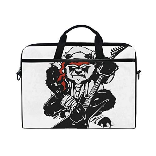 LOSNINA 15-15.4 inch Laptop Tasche,Verärgerte stilisierte Schwarze Panda Gitarre,Neue Leinwand Drucken Muster Aktentasche Laptop Schulter Messenger Handtasche Case Sleeve