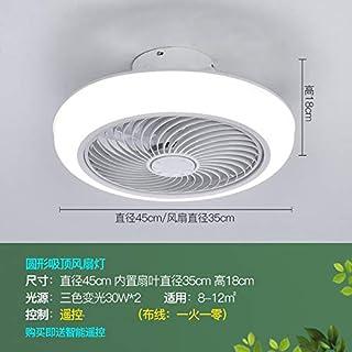 Lámpara De Ventilador De Techo Ultrafina Dormitorio Sala De Estar Comedor Lámpara De Decoración Ventilador Silencioso Control Remoto Lámpara Integrada Atenuación blanca de 45 cm + control remoto