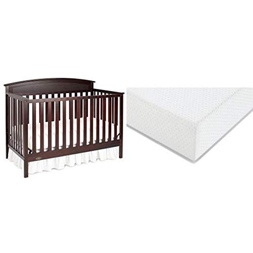 Graco Benton Convertible Crib + Graco Premium Foam Crib and Toddler Bed Mattress, Espresso