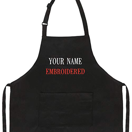 Custom Kitchen Apron Restaurant Personalized Grilling Apron Red Embroidered Chef Aprons Cooking With Pockets Customized Baking Apron For Women Men Baker Bbq Cook
