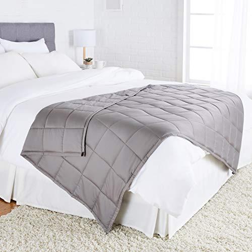 Amazon Basics - Coperta ponderata in cotone per tutte le stagioni, 5,4 kg, 120 x 180 cm (letto singolo), colore: grigio scuro