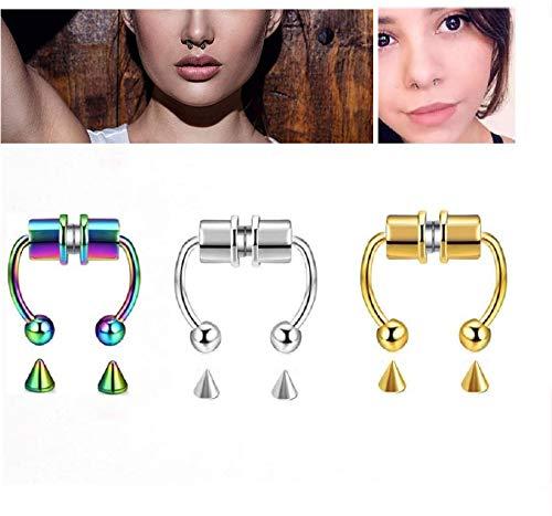 Anillo de nariz de moda reutilizable, anillo de nariz de tabique magnético, anillos de herradura de aro, nuevos anillos de tabique de imitación de acero inoxidable 2021