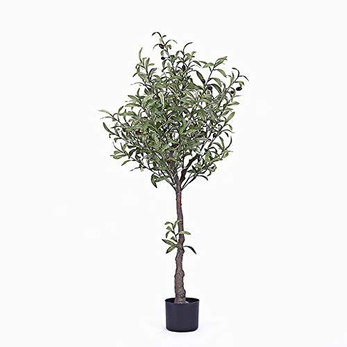 GETSO Nordic in künstlichen Olivenbaum gefälschten Baum Grün Bonsai Raumdekoration lebt Innen-Topfpflanzen gefälschte Pflanzen mit Topf: 130cm mit schwarzem Topf