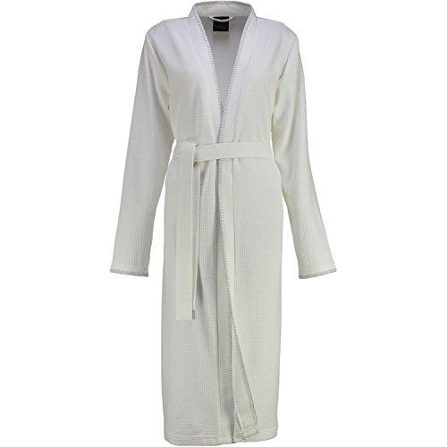 Cawö Damen Kimono 812 I Größe 48/50 I Farbe Weiss I Reine Baumwolle I Uni Einfarbig I Extraleichte Piqué-Qualität